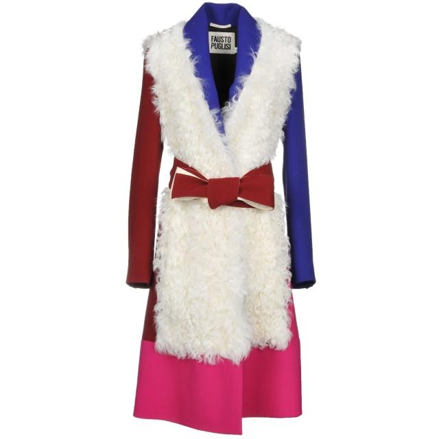 《期間限定 セール開催中》FAUSTO PUGLISI レディース ライトコート ホワイト 44 バージンウール 100% / 羊革(ラムスキン)