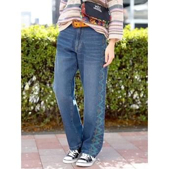 【大きいサイズレディース】【L-2L】ウィピールモチーフ デニムパンツ パンツ デニムパンツ・ジーンズ