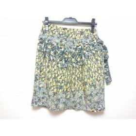 【中古】 ブラックレーベルポールスミス スカート レディース 美品 黒 イエロー 白 花柄