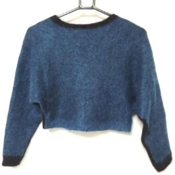 【中古】 オープニングセレモニー 長袖セーター サイズM レディース ブルー 黒 ショート丈