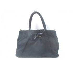 【中古】 プラダ PRADA ハンドバッグ - - 黒 リボン ナイロン レザー