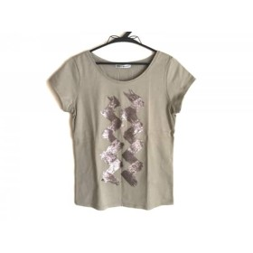 【中古】 イッセイミヤケ ノースリーブTシャツ サイズ2 M レディース 美品 グリーン スパンコール