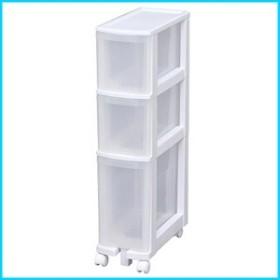 アイリスオーヤマ キッチンチェスト 幅20×奥行41×高さ85cm ホワイト/クリア 021