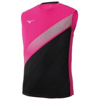 MIZUNO SHOP [ミズノ公式オンラインショップ] ノースリーブシャツ[ユニセックス] 65 ピンクグロー×ブラック×シルバー U2MA9012