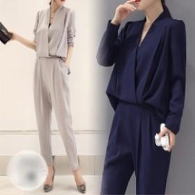 送料無料 パンツドレス パンツスーツ 二点セット セットアップ Vネック 体型カバー 着痩せ
