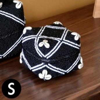 収納ケース 収納ボックス ビーズ製 蓋つき ダイヤ柄 約13×13cm ブラック アジア雑貨 バリ雑貨 アジアン リゾート おしゃれ