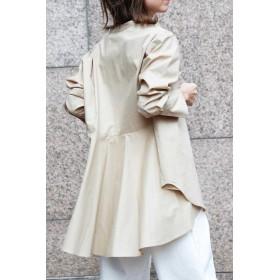 【公式/フリーズマート】スタンドカラーチュニックシャツ/女性/ブラウス/ベージュ/サイズ:FR/コットン 100%