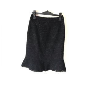 【中古】 マテリア MATERIA スカート サイズ38 M レディース 黒 ツイード/ラメ