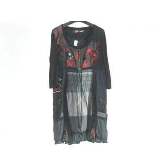 【中古】 デシグアル Desigual ワンピース サイズ46 XL レディース 黒 レッド マルチ 刺繍