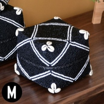 収納ケース 収納ボックス ビーズ製 蓋つき ダイヤ柄 約17×17cm ブラック アジア雑貨 バリ雑貨 アジアン リゾート おしゃれ