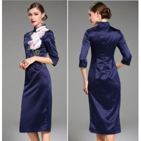 花柄 刺繍 チャイナドレス風 7分袖 上品 結婚式 ワンピース 全2色 J-056