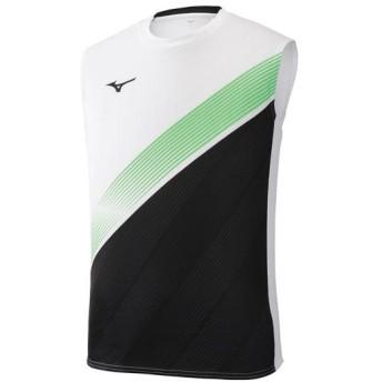 MIZUNO SHOP [ミズノ公式オンラインショップ] ノースリーブシャツ[ユニセックス] 73 ホワイト×ブラック×グリーンゲッコー U2MA9012