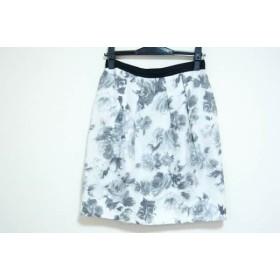 【中古】 ジャスグリッティー JUSGLITTY スカート サイズ2 M レディース 白 ライトグレー グレー 花柄