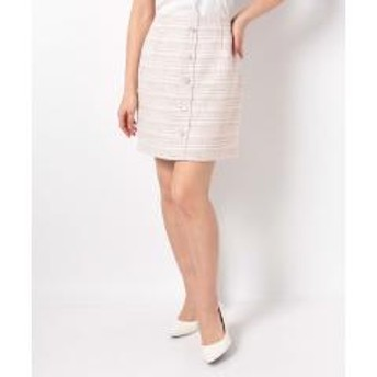 ツイードビジュー台形スカート