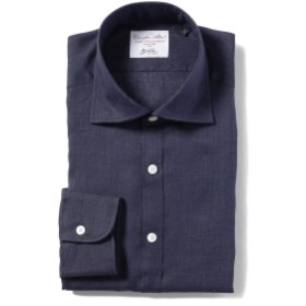 Brilla per il gusto / リネン カッタウェイ ワイドカラーシャツ メンズ カジュアルシャツ NAVY/150 XL
