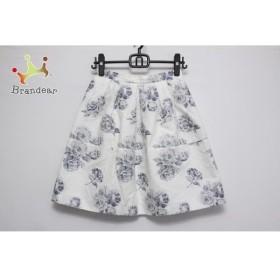 アプワイザーリッシェ スカート サイズ1 S レディース 白×ライトグレー×ネイビー 花柄/ラメ     スペシャル特価 20190729