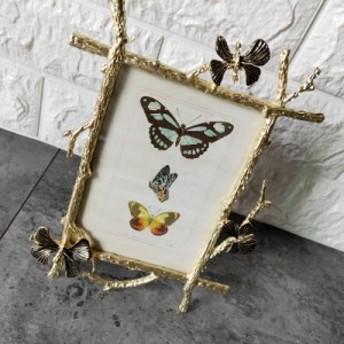 【お取り寄せ】フォトフレーム 小枝のフレーム 蝶々モチーフ ビンテージ風