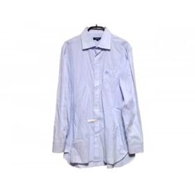 【中古】 バーバリーロンドン 長袖シャツ サイズ40 M メンズ ライトブルー 白 ストライプ