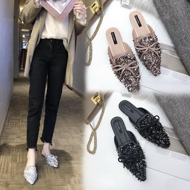 FOFU-拖鞋奢華時尚裝飾尖頭蝴蝶結低跟拖鞋【02S10454】
