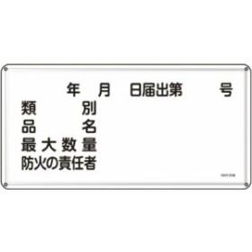 緑十字 KHY-31M 消防・危険物標識類別・品名・防火の責任者300×600スチール 055131