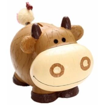 【お取り寄せ】貯金箱 置物 かわいい牛さん 木彫り風 樹脂製