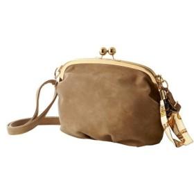 スカーフバッグチャーム付ガマ口ショルダーバッグ(ベルト2本組) ショルダーバッグ・斜め掛けバッグ