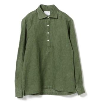 Brilla per il gusto / リネン プルオーバー カッタウェイ ワイドカラーシャツ メンズ カジュアルシャツ D.GREEN/53 M