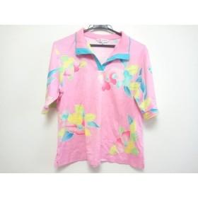 【中古】 レオナール LEONARD 半袖ポロシャツ サイズ44 L レディース ピンク ライトブルー マルチ 花柄
