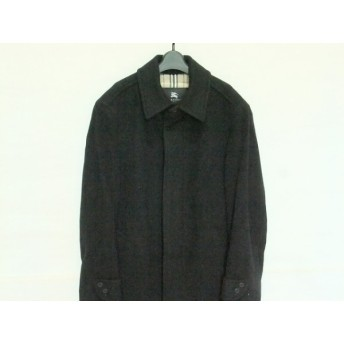 【中古】 バーバリーブラックレーベル コート サイズL メンズ 美品 黒 冬物/カシミヤ混