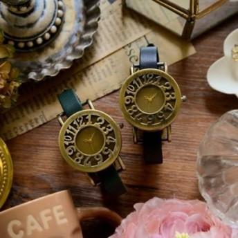 アンティーク調で可愛い腕時計 ブラック&グリーン ペアウォッチ レディース 革ベルト オシャレ 時計