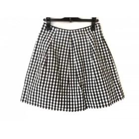 【中古】 ロイスクレヨン スカート サイズM レディース 美品 白 ダークネイビー 黒 チェック柄