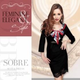 【再入荷】 キャバドレス キャバ ドレス 大きいサイズ ソブレ ミニ ワンピ スカーフリボンタックワンピース 180117 XXL キャバクラ キャ
