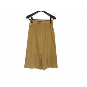 【中古】 レオナール スカート サイズ66 レディース ライトブラウン パープル アイボリー 刺繍/花柄