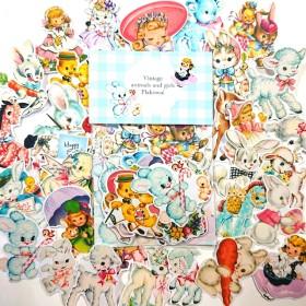 【送料無料】30枚入 メッセージカード付 レトロアニマル&ガール フレークシール