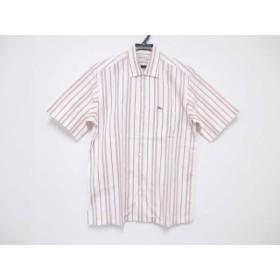 【中古】 バーバリーズ Burberry's 半袖シャツ サイズS メンズ 美品 白 レッド ストライプ