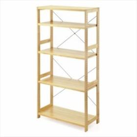 パイン材 ユニットシェルフ 5段 奥行40cm 幅90cm 高さ179cm 棚板 高さ調整 木製 ウッドラック  [100-DESKH006]