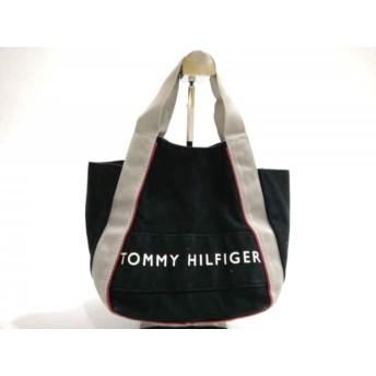 【中古】 トミーヒルフィガー TOMMY HILFIGER ハンドバッグ ネイビー ライトグレー キャンバス ナイロン