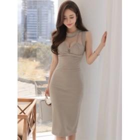 フォーマル ドレス ワンピース シースルー ノースリーブ*韓国新作*