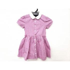 【中古】 ポロラルフローレン ワンピース サイズ110 レディース ピンク 白 ストライプ/子供服