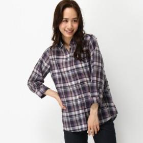 シャツ ブラウス レディース 麻混7分袖シャツ 「パープル×ピンク」
