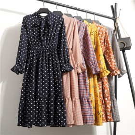 ワンピース レディース 夏 ドレス 花柄 チェック柄 水玉柄 シフォン プリントワンピース カジュアル かわいい ちょう結び長袖
