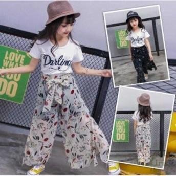 子供服春夏着 女の子 2点セットファッション感 半袖上品 アルファベットTシャツ&花柄ロングパンツキッズ 可愛い学生服 お嬢様風