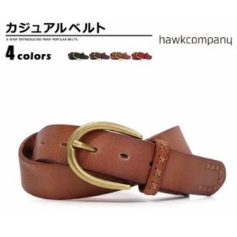 ベルト メンズ ホークカンパニー Hawk Company カジュアルベルト 牛革 亜鉛合金 カラーバリエーション 334 mens ladies belt ブラック