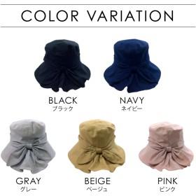 ハット - Y & M リボン絞りハット リボン サイズ調節可 UVケアアゴヒモ付 強風対策 帽子 最新春夏かわいい 裏地メッシュ帽子 つば広 幅広 レディース 紫外線対策