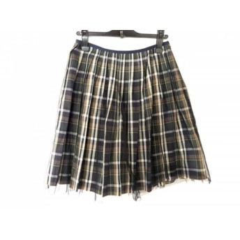 【中古】 ロイスクレヨン Lois CRAYON スカート サイズM レディース 美品 ダークネイビー 白 マルチ