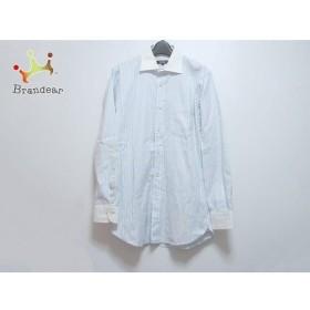 バーバリーブラックレーベル 長袖シャツ サイズ39 メンズ ライトブルー×白×マルチ ストライプ   スペシャル特価 20190615