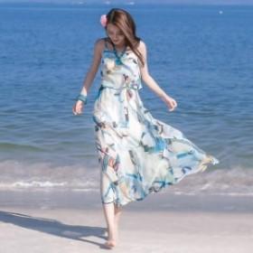 【0600】花柄 ロングワンピース ビスチェ ハイウェスト ティアード フレア 春・秋 大人可愛い リゾート 海外旅行 ホワイト