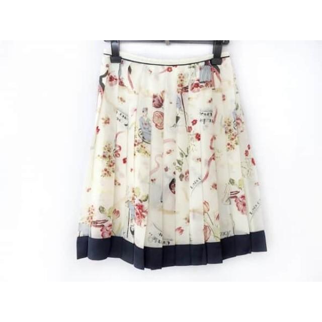 【中古】 ロイスクレヨン スカート サイズM レディース 美品 アイボリー ダークネイビー マルチ
