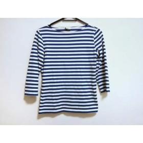 【中古】 マリメッコ marimekko 長袖Tシャツ サイズS レディース 白 ブルー ボーダー