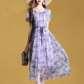 クルーネック 半袖 桑シルク ロングワンピース きれいなカラー イベント 華やかさ 美しい